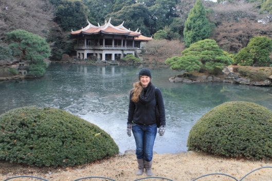 In the traditional Japanese garden.