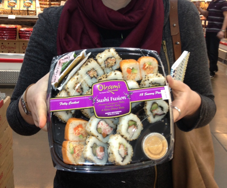 "I also got quite a chuckle at this ""fully cooked"" sushi selection at Costco."