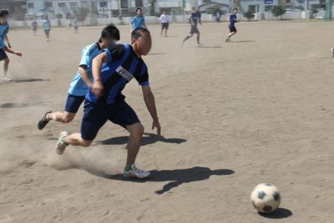 Seniors playing soccer.