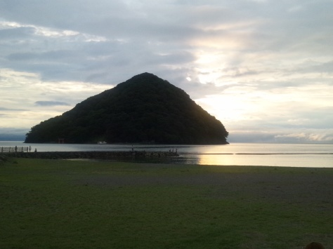 Watching the sunset from nearby Asamushi Sunset Beach.