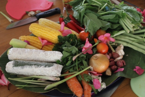 All of the fresh vegetables were either from my host's garden or the morning market.
