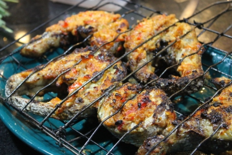 The finished grilled barracuda steaks.