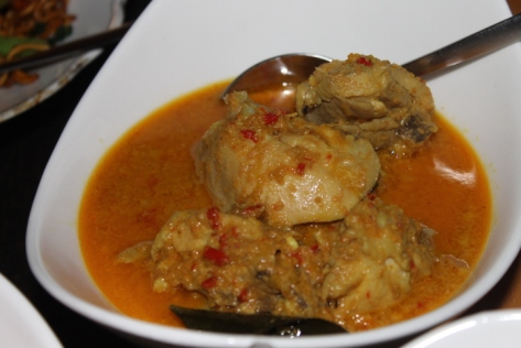 Chicken coconut curry. The coconut milk was fresh from Nining's garden.