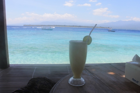 Recipe for content: cold drink, bungalow, ocean.