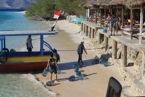 Gili Meno has no natural source of freshwater, so it has to be brought to the island every day, and then the empty bottles are taken back to Lombok.
