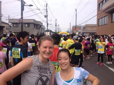 With my friend Miho, waiting for the race to start.