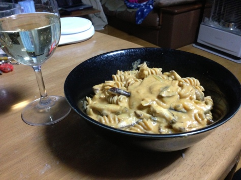 Pumpkin gorgonzola sauce over pasta, mushrooms, and scallops. I figured I deserved something decadent.
