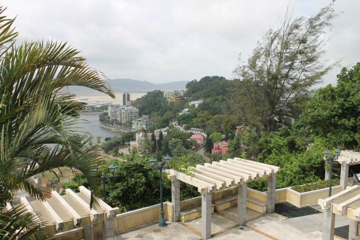 Overlooking part of Macau. Climbing this hill in the April humidity was not my idea of a fun time.