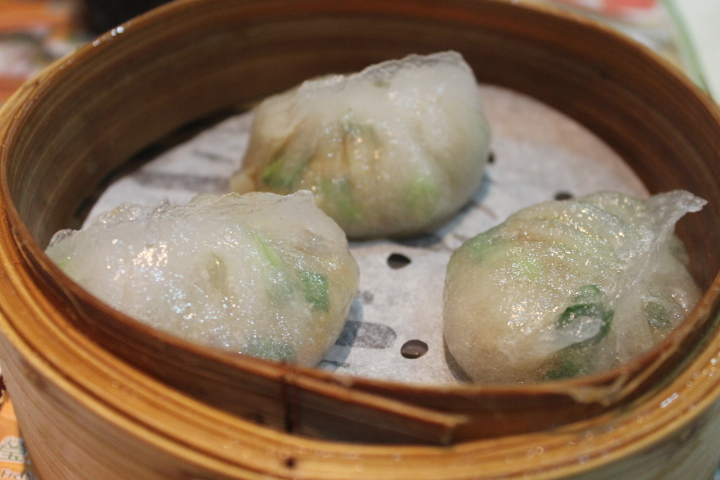 Steamed chiu chow dumplings, filled with ground pork, shrimp, celery, water chestnuts, and a whole host of other ingredients.