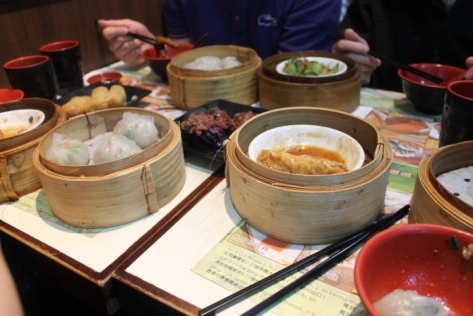 A typical dim sum spread.