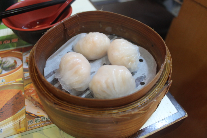 Steamed ha jiao (minced shrimp) dumplings.
