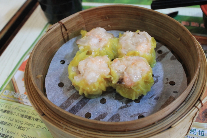 Steamed shrimp dumplings (shu mai) with minced pork.