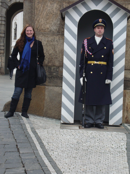 Edging in for a picture with the guard outside the castle.
