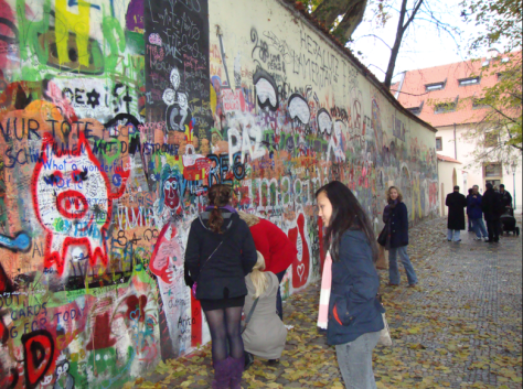 The Lennon Wall in Malá Strana near Grand Priory Square.