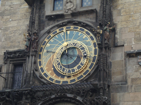 A close-up of the main clock face.