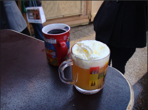 On the right, Glühwein. On the left, Eierpunsch.
