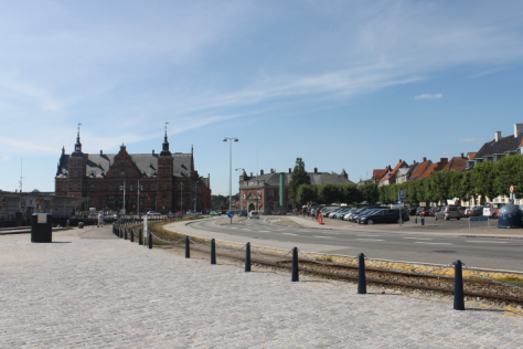 The area near the train station in Helsingør.