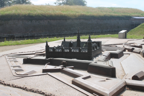 A smaller scale model of the castle and its grounds.
