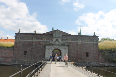 Crossing the moat to Kronborg Castle.