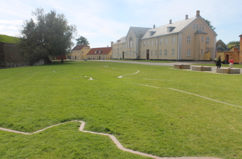 This was one of my favorite features of the castles: the outline of Denmark, with some of the main cities marked, was laid in metal on one of the lawns.