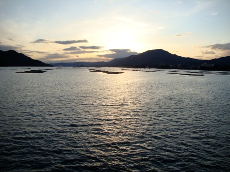 Sunset from the ferry from Miyajima-guchi