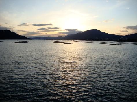 Sunset from the ferry from Miyajima-guchi