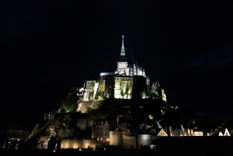 Mont Saint Michel illuminated at night embodies an entirely different kind of beauty. It becomes both more magical and foreboding. A view like this is why I think it's worthwhile to make a trek out to MSM an overnight trip.