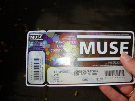 This is sitting in a frame (alongside all of my other Muse tickets) somewhere at home in America.