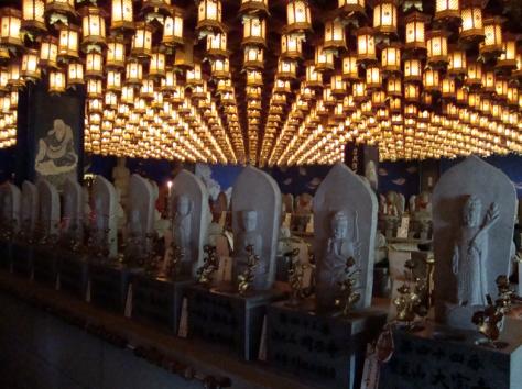 Lanterns inside Daishoin Temple