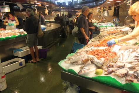 The fish market section of La Boqueria, where you rub shoulders with restauranteurs shopping for the stars of their next dish.