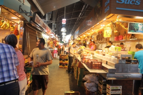 The inner aisles of La Boqueria. I was there in mid-August. That's peak holiday season in Spain, which meant some of the stalls - like the shuttered on the left - were closed.