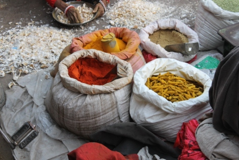 Fresh spices. The right sack in the foreground contains turmeric, before it's ground into powder.
