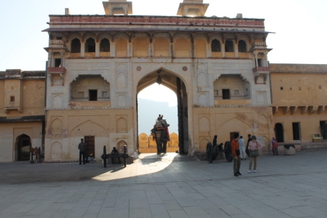 Elephants coming through the Sulaj Pol (Sun Gate) entrance.