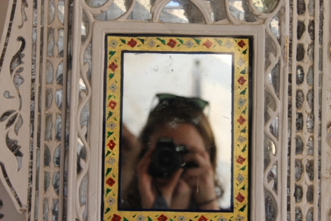 Snapping a picture in one of the mirrors in the aptly named Sheesh Mahal (Mirror Palace) in the Amber Fort.