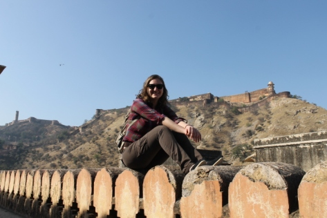 Sitting on one of the walls of the Amber Fort.