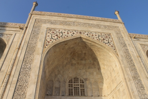 The mottled pattern of the Taj's marble.
