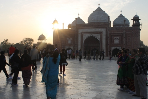 The setting sun behind one of the minor gates, from the terrace of the mausoleum.