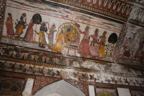 Partially restored murals