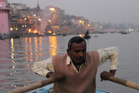 Varanasi never feels more ancient than when you're on the river.