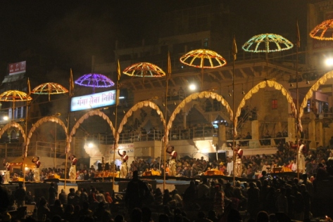 Flames dance and the clanging chimes and chants of the priests ring out over the water and enraptured crowds.