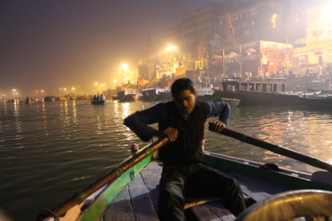 Around 5 a.m. on the Ganges and it's basically still nighttime.