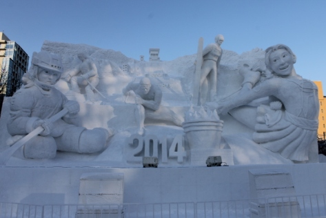 Since this year's festival was shortly before the Winter Olympics, one of the sculptures focused on the athletes.