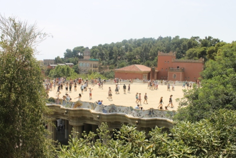 One of the main draws of Parc Güell is the main terrace.