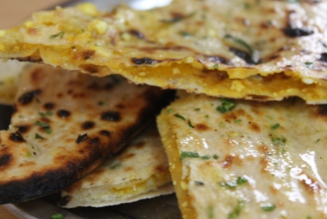 Naan stuffed with paneer.