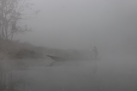 All of the fog made it pretty eerie to see another canoe materialize from the grey.