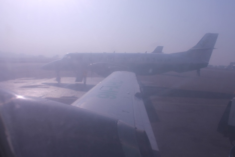 A hazy morning in Kathmandu doesn't bode well for an on-time departure.
