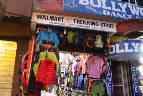 Trekking shops like this dot the main streets of Pokhara, but I'm not so sure that this Wal-Mart outpost is legitimate...