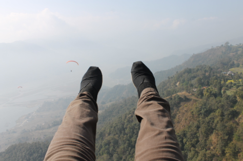 With my feet dangling 1700 meters above the ground, I was a happy camper.