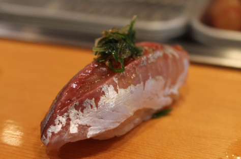 鯵 (aji) - horse mackerel.