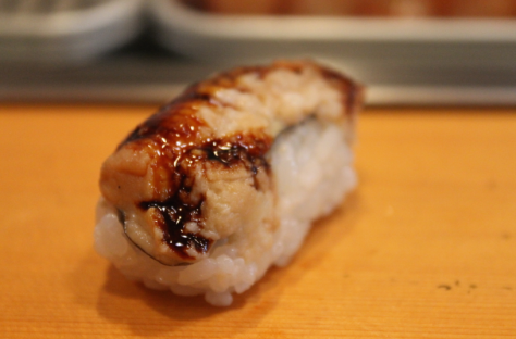 The last standard piece of my set was 穴子 (anago), which is conger eel. 穴子 is one of my absolute favorite sushi cuts. It's topped with a slightly sweet sauce and served warm. It's soft and buttery and absolutely perfect. And Sushidai's was the best I've ever had.
